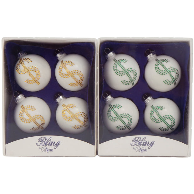 "2 5/8"" (67mm) Ball Ornaments, Rhinestone Dollar Sign, White/Multi, 4/Box, 12/Case, 48 Pieces"