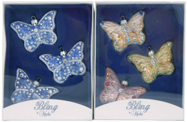 "3 1/4"" (80mm) Rhinestone Butterflies Figurine Ornaments Asst, 3/Box, 12/Case, 36 Pieces"