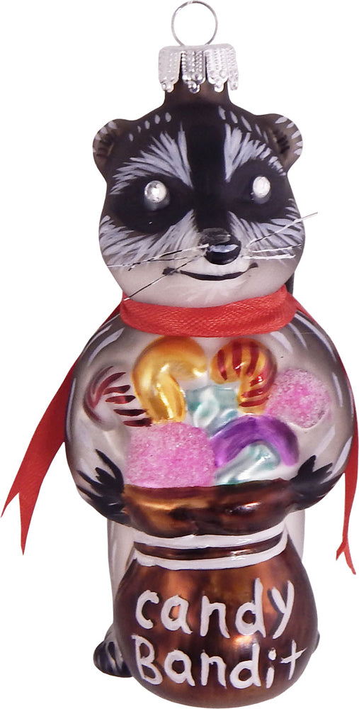 "4"" (100mm) Candy Bandit Raccoon Figurine Ornaments, 1/Box, 6/Case, 6 Pieces - Christmas by Krebs Wholesale"