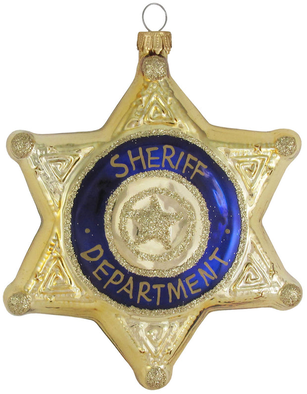 "4 3/4"" (120mm) Sheriff Badge Figurine Ornaments, 1/Box, 6/Case, 6 Pieces - Christmas by Krebs Wholesale"