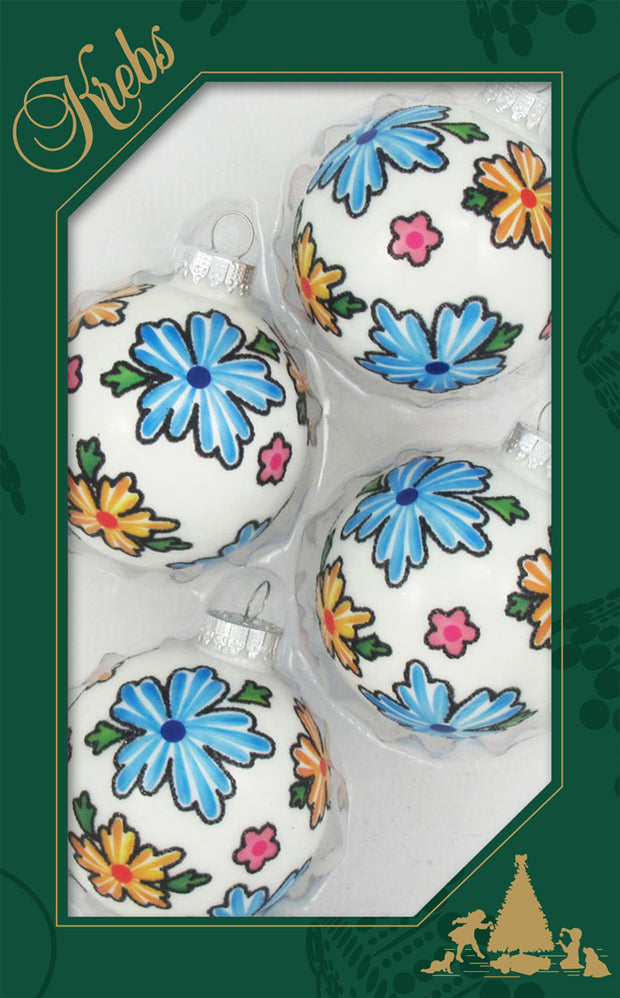 "2 5/8"" (67mm) Ball Ornaments, Boho Flowers, Porcelain White, 4/Box, 12/Case, 48 Pieces"