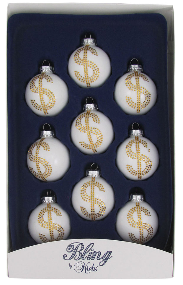 "2 1/4"" (57mm) Ball Ornaments, Rhinestone Dollar Sign, White/Multi, 9/Box, 12/Case, 108 Pieces"