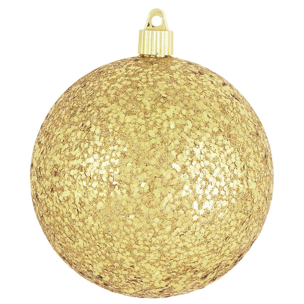 "4 3/4"" (120mm) Jumbo Commercial Shatterproof Ball Ornament, Gold Glitz, Case, 36 Pieces"