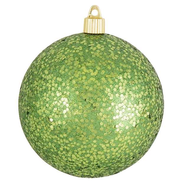 "4 3/4"" (120mm) Jumbo Commercial Shatterproof Ball Ornament, Lime Glitz, Case, 36 Pieces"