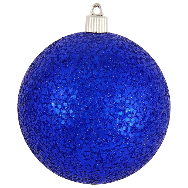 "4 3/4"" (120mm) Jumbo Commercial Shatterproof Ball Ornament, Dark Blue Glitz, Case, 36 Pieces - Christmas by Krebs Wholesale"