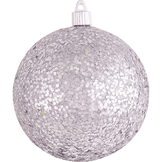 "4 3/4"" (120mm) Jumbo Commercial Shatterproof Ball Ornament, Silver Glitz, Case, 36 Pieces"