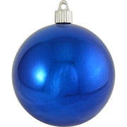 "4"" (100mm) Large Commercial Pre-Wired Shatterproof Ball Ornament, Azure Blue, Case, 48 Pieces"