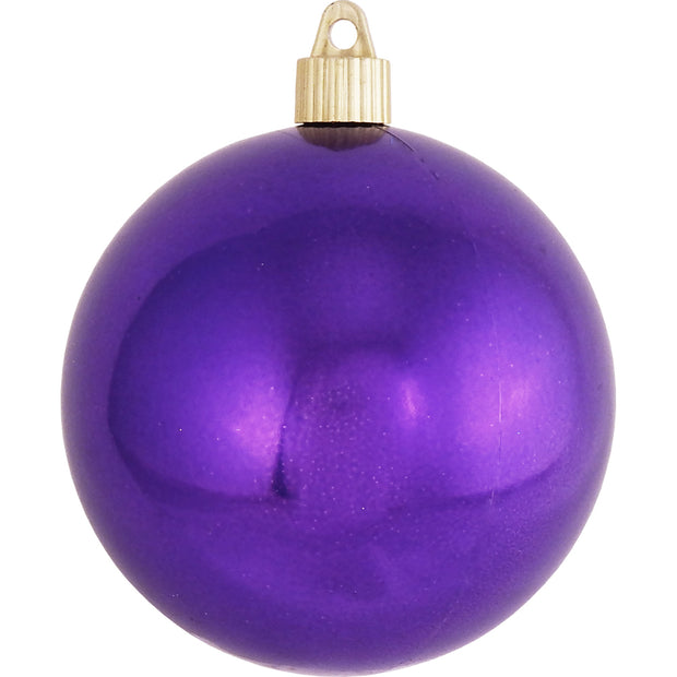 "4"" (100mm) Large Commercial Pre-Wired Shatterproof Ball Ornament, Vivacious Purple, Case, 48 Pieces - Christmas by Krebs Wholesale"