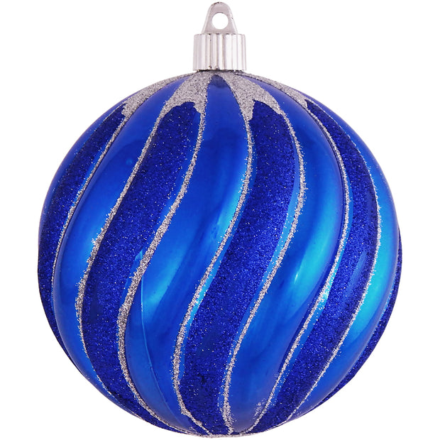 "4 3/4"" (120mm) Jumbo Commercial Shatterproof Ball Ornament, Azure Blue, Case, 24 Pieces - Christmas by Krebs Wholesale"