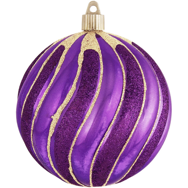 "4 3/4"" (120mm) Jumbo Commercial Shatterproof Ball Ornament, Vivacious Purple, Case, 24 Pieces - Christmas by Krebs Wholesale"