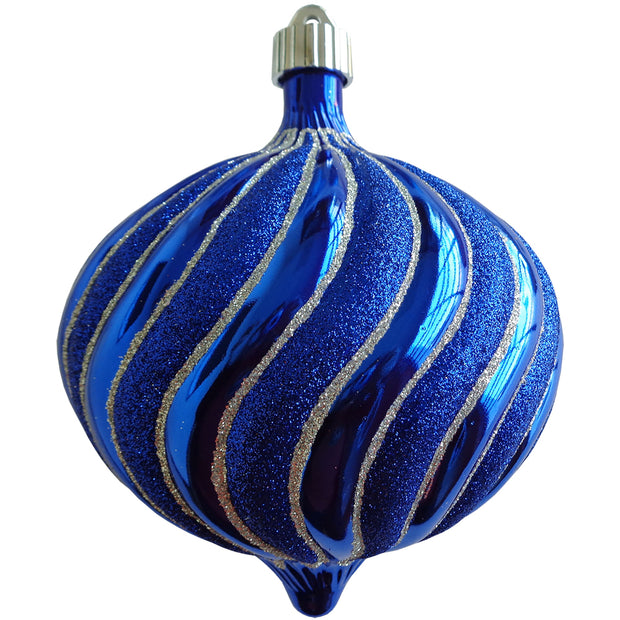 "6"" (150mm) Large Commercial Shatterproof Swirled Onion Ornaments, Azure Blue, Case, 12 Pieces"