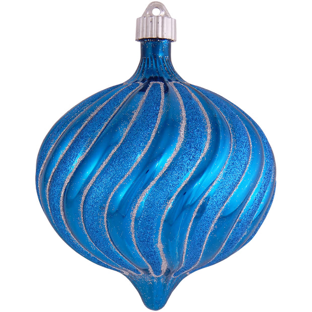 "6"" (150mm) Large Commercial Shatterproof Swirled Onion Ornaments, Balmy Seas Blue, Case, 12 Pieces - Christmas by Krebs Wholesale"