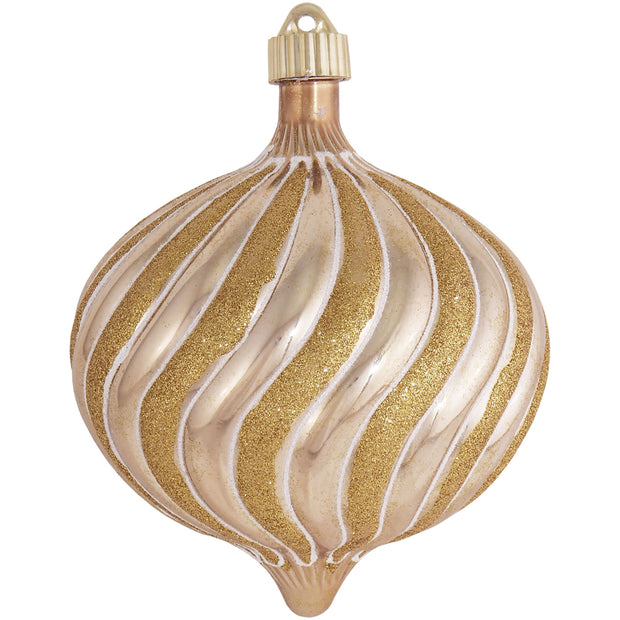 "6"" (150mm) Large Commercial Shatterproof Swirled Onion Ornaments, Gilded Gold, Case, 12 Pieces"