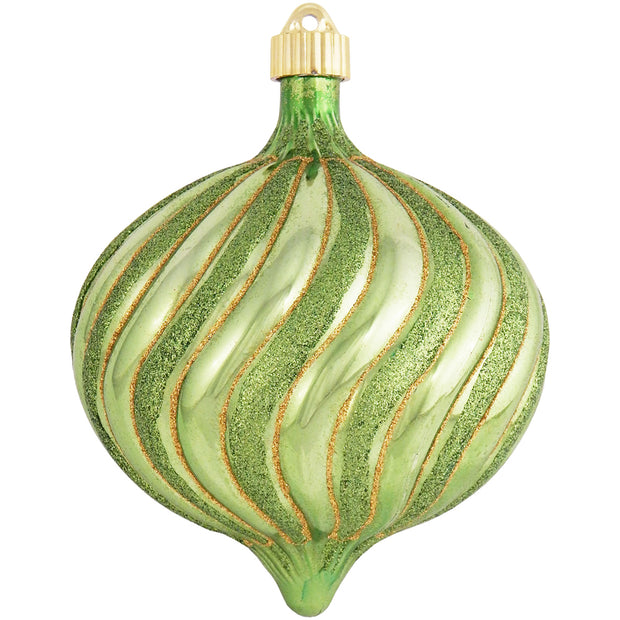 "6"" (150mm) Large Commercial Shatterproof Swirled Onion Ornaments, Limeade Green, Case, 12 Pieces - Christmas by Krebs Wholesale"