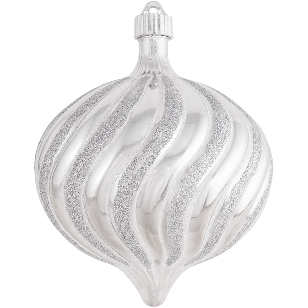 "6"" (150mm) Large Commercial Shatterproof Swirled Onion Ornaments, Looking Glass Silver, Case, 12 Pieces - Christmas by Krebs Wholesale"