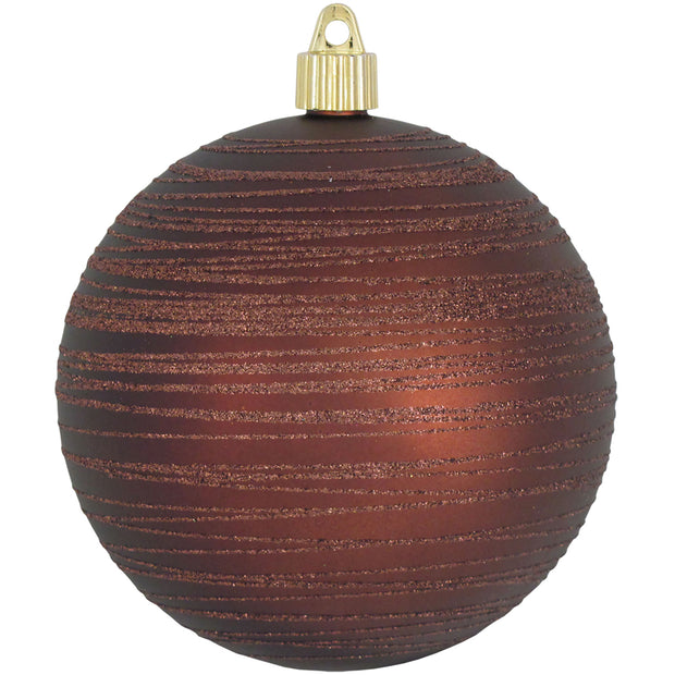 "4 3/4"" (120mm) Jumbo Commercial Shatterproof Ball Ornament, Cowboy Brown, Case, 24 Pieces - Christmas by Krebs Wholesale"