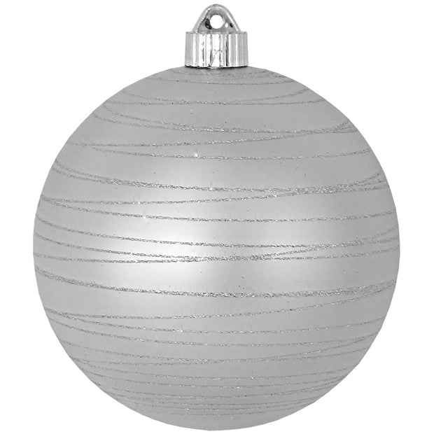 "6"" (150mm) Large Commercial Shatterproof Ball Ornaments, Dove Gray Silver, 1/Box, 12/Case, 12 Pieces"