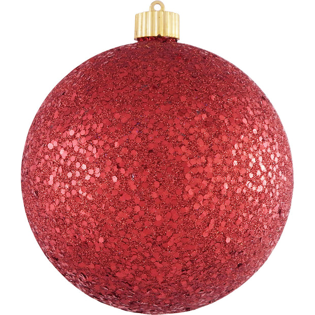"6"" (150mm) Large Commercial Shatterproof Ball Ornaments, Red Glitz, 1/Box, 12/Case, 12 Pieces - Christmas by Krebs Wholesale"