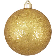 "6"" (150mm) Large Commercial Shatterproof Ball Ornaments, Gold Glitz, 1/Box, 12/Case, 12 Pieces"