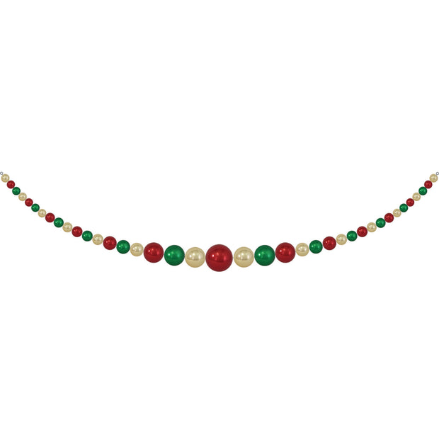 "11.5"" Giant Commercial Shatterproof Ball Garland, Gold/Green/Red, Case, 1 Piece"