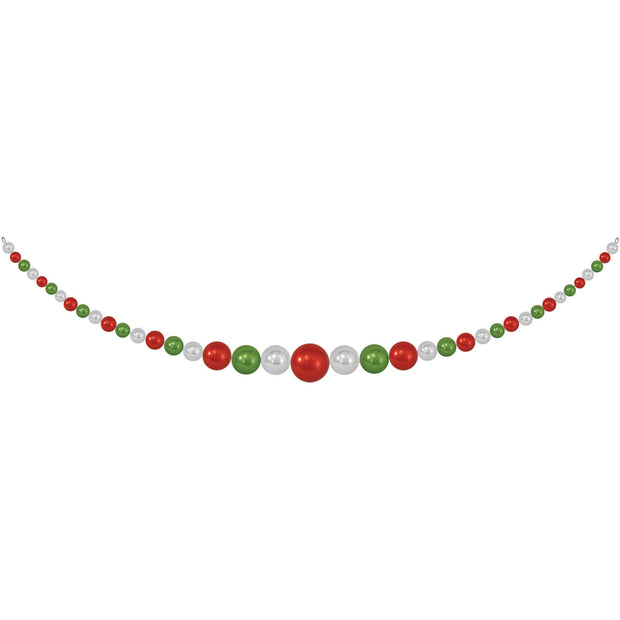 "11.5"" Giant Commercial Shatterproof Ball Garland, Green/Red/Silver, Case, 1 Piece"