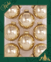 "2 5/8"" (67mm) Ball Ornaments, Gold Caps, Molten Gold Shine, 8/Box, 12/Case, 96 Pieces - Christmas by Krebs Wholesale"
