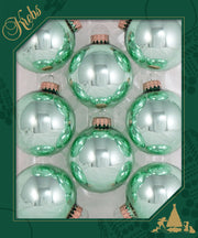 "2 5/8"" (67mm) Ball Ornaments, Gold Caps, Seafoam Shine, 8/Box, 12/Case, 96 Pieces - Christmas by Krebs Wholesale"
