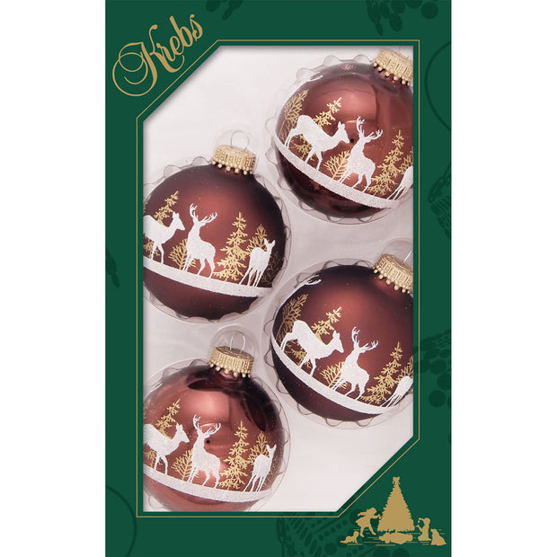 "2 5/8"" (67mm) Ball Ornaments, Forest Deer, Brown/Multi, 4/Box, 12/Case, 48 Pieces - Christmas by Krebs Wholesale"