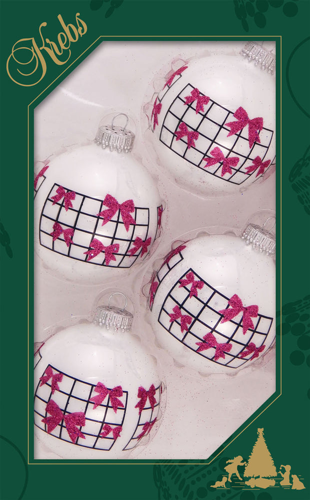 "2 5/8"" (67mm) Ball Ornaments, Bow Grid, Multi, 4/Box, 12/Case, 48 Pieces"