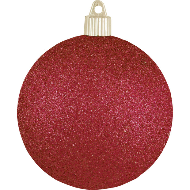 "4"" (100mm) Large Commercial Pre-Wired Shatterproof Ball Ornament, Red Glitter, Case, 48 Pieces"