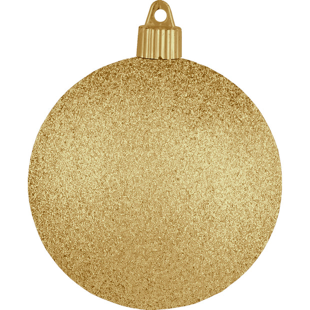 "4"" (100mm) Large Commercial Pre-Wired Shatterproof Ball Ornament, Gold Glitter, Case, 48 Pieces"