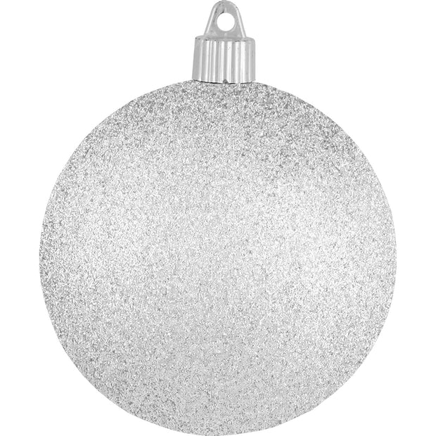 "4"" (100mm) Large Commercial Pre-Wired Shatterproof Ball Ornament, Silver Glitter, Case, 48 Pieces"