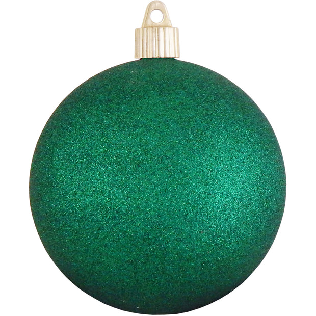 "4"" (100mm) Large Commercial Pre-Wired Shatterproof Ball Ornament, Emerald Glitter, Case, 48 Pieces"