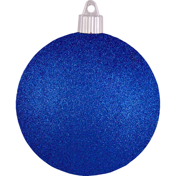 "4"" (100mm) Large Commercial Pre-Wired Shatterproof Ball Ornament, Dark Blue Glitter, Case, 48 Pieces"