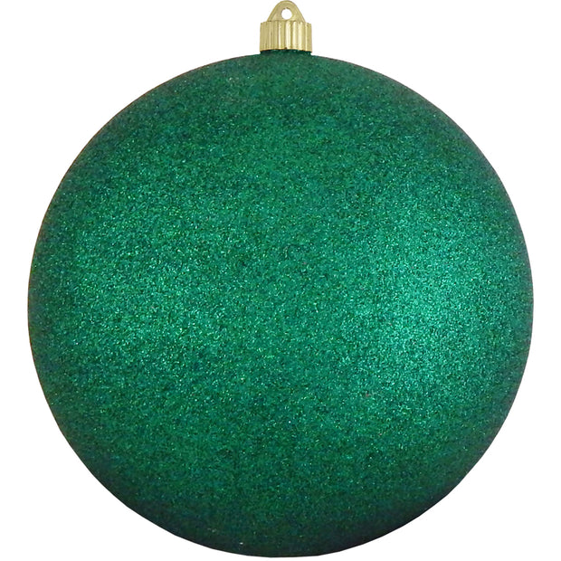 "10"" (250mm) Giant Commercial Shatterproof Ball Ornament, Emerald Glitter, Case, 4 Pieces"