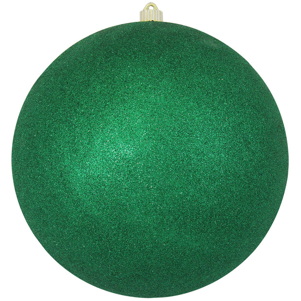 "12"" (300mm) Giant Commercial Shatterproof Ball Ornament, Emerald Glitter, Case, 2 Pieces"