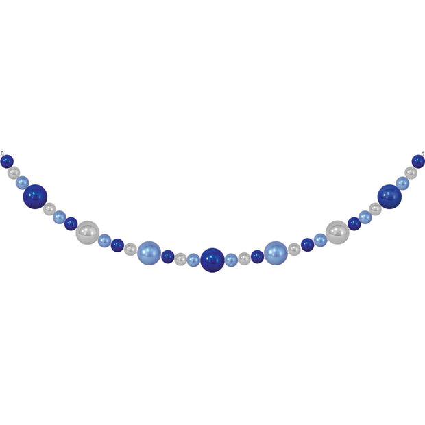 10' Giant Commercial Shatterproof Ball Garland, Blue/Silver, Case, 1 Piece