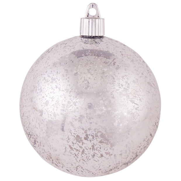 "4"" (100mm) Large Commercial Shatterproof Ball Ornament, Silver Mercury, Case, 24 Pieces"
