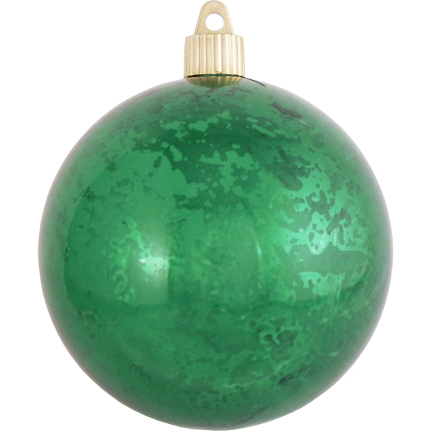 "4"" (100mm) Large Commercial Shatterproof Ball Ornament, Emerald Mercury, Case, 24 Pieces"