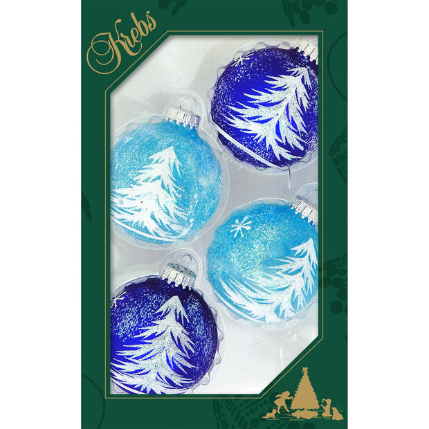 "2 5/8"" (67mm) Ball Ornaments, Feathery Trees, Aqua/White, 4/Box, 12/Case, 48 Pieces - Christmas by Krebs Wholesale"
