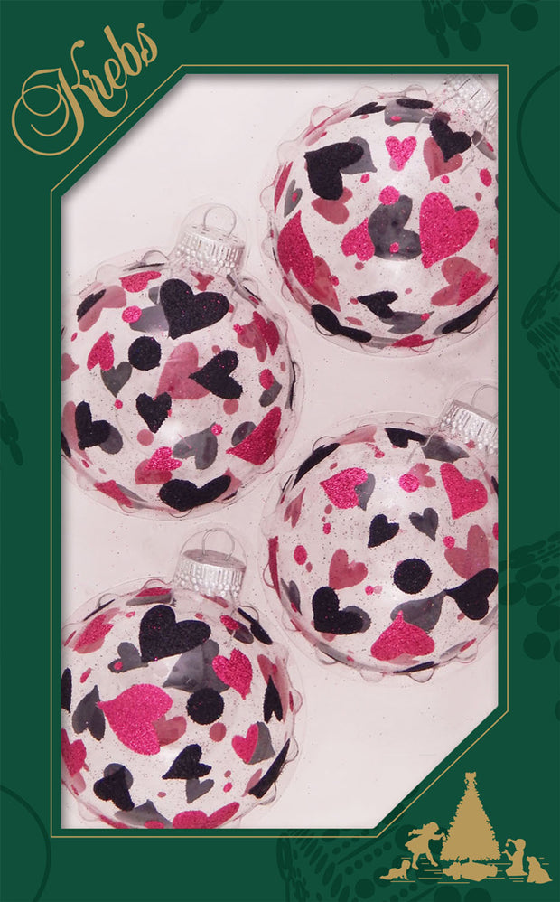 "2 5/8"" (67mm) Ball Ornaments, Hearts and Dots, Clear, 4/Box, 12/Case, 48 Pieces - Christmas by Krebs Wholesale"