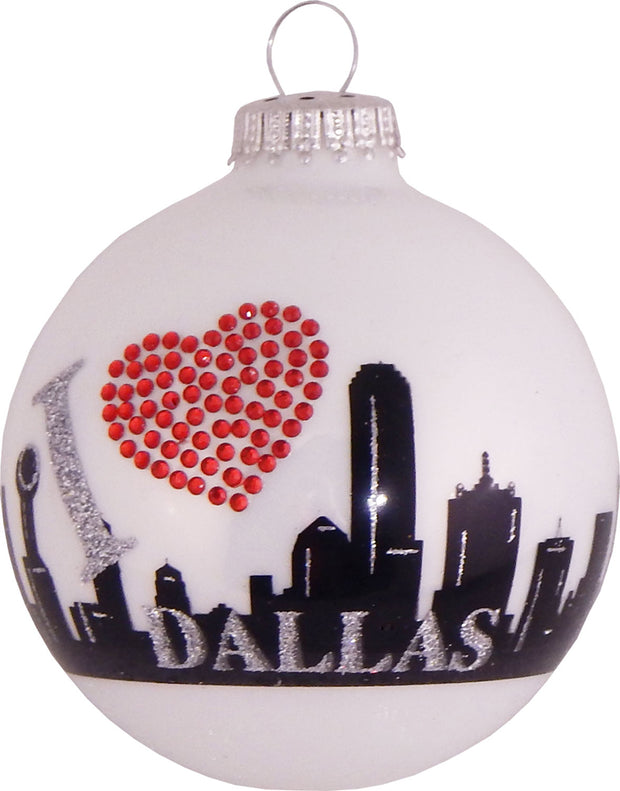 "3 1/4"" (80mm) Ball Ornaments, Dallas Skyline, Porcelain White, 4/Box, 12/Case, 48 Pieces"