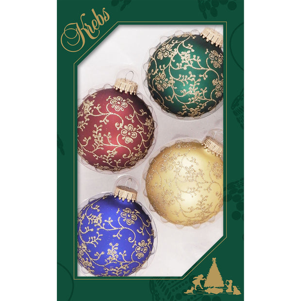 "2 5/8"" (67mm) Ball Ornaments, Glitterlace, Multi, 4/Box, 12/Case, 48 Pieces"