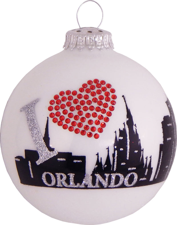 "3 1/4"" (80mm) Ball Ornaments, Orlando Skyline, White/Multi, 4/Box, 12/Case, 48 Pieces - Christmas by Krebs Wholesale"