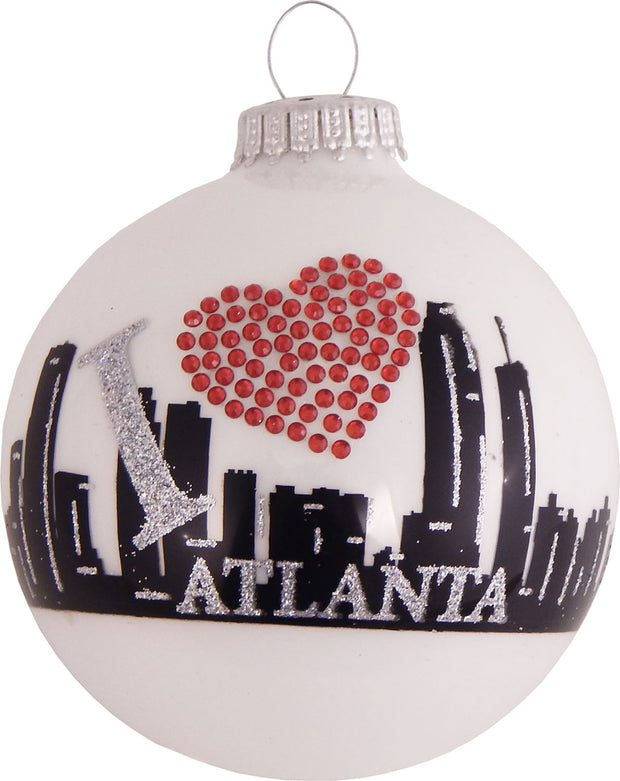 "3 1/4"" (80mm) Ball Ornaments, Atlanta Skyline, White/Multi, 4/Box, 12/Case, 48 Pieces"
