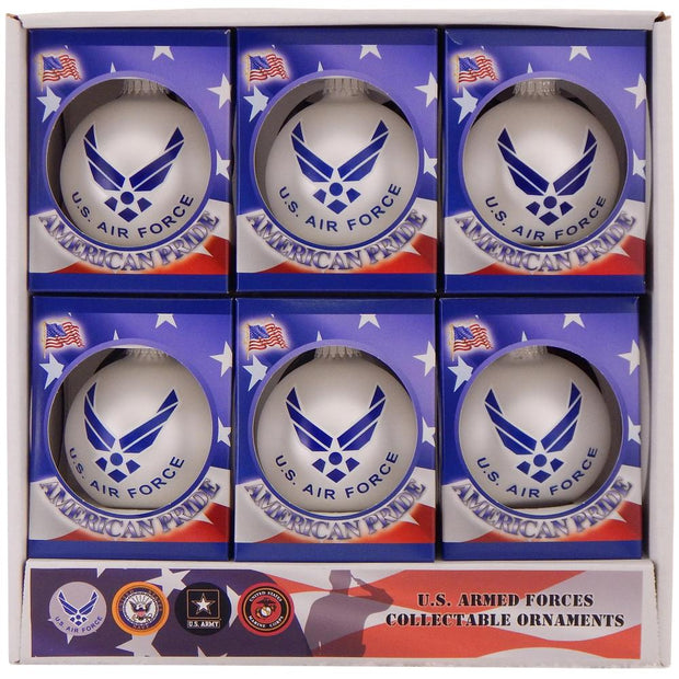 "3 1/4"" (80mm) Ball Ornaments, US Air Force, Silver Pearl, 1/Box, 12/Case, 12 Pieces - Christmas by Krebs Wholesale"