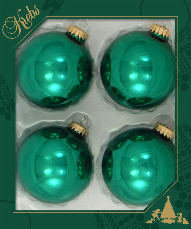 "3 1/4"" (80mm) Ball Ornaments, Gold Caps, Emerald Green, 4/Box, 12/Case, 48 Pieces"