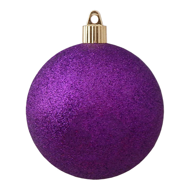 "4"" (100mm) Shatterproof Ball Ornaments, Purple Glitter, 1/Ea, 48/Case, 48 Pieces - Christmas by Krebs Wholesale"