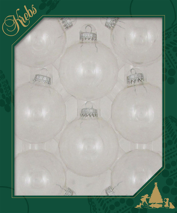 "2 5/8"" (67mm) Ball Ornaments, Silver Caps, Clear, 8/Box, 12/Case, 96 Pieces"