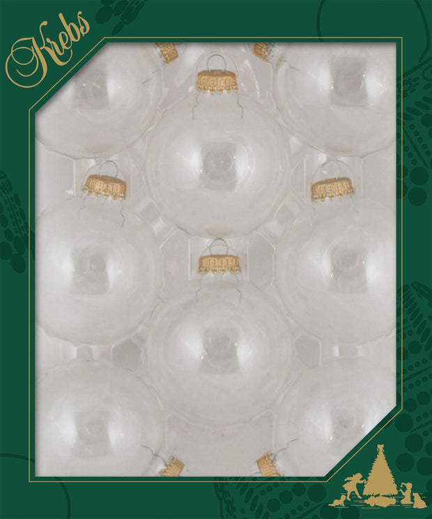 "2 5/8"" (67mm) Ball Ornaments, Gold Caps, Clear, 8/Box, 12/Case, 96 Pieces"